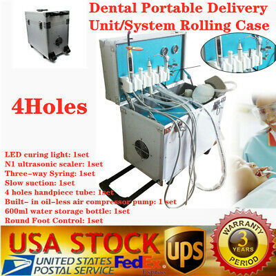 Portable Dental Delivery Unit Rolling Case w/ Slow Suction Air Compressor+Scaler