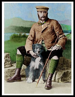 Bearded Collie Scottish Gentleman And His Dog Great Vintage Style Print Poster