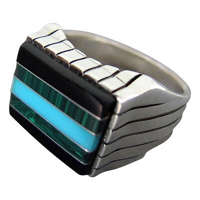 925 Sterling Silver Onyx Malachite Turquoise Stone Set Mens Solid Ring