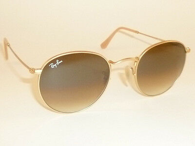 RAY BAN Sunglasses ROUND METAL Matte Gold Frame  RB 3447 112/51  Gradient Brown