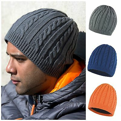 Cable Knit Beanie Chunky Winter Warm Fleece Lined Ski Hat Mens Womens Ladies