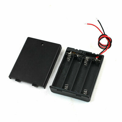 ON/OFF Switch Batteries Case Box w Cover for 4 x 1.5V AAA Battery