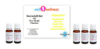 Sauna Saunaaufguss Set / Saunaduft Set - 'Selection' mit 5 x 15ml Flaschen