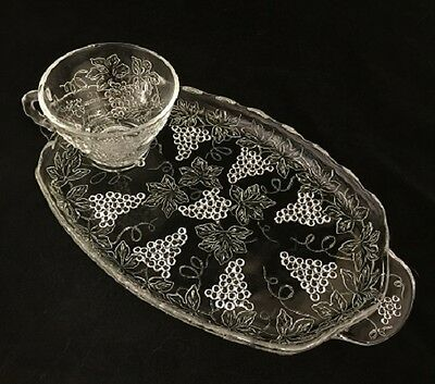 Clear Glass Grape Design Tea Luncheon Sandwich Plate With Cup 4 PLATES & 4 CUPS
