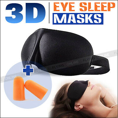 3D Black Sleeping Eye Mask Blindfold Earplugs Shade Test Relax Sleep Cover Light