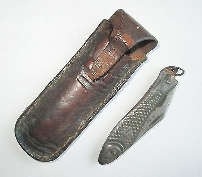 ANTIQUE CUSTOM MADE FOLDING POCKET KNIFE with FISH SHAPED HANDLE w LEATHER CASE