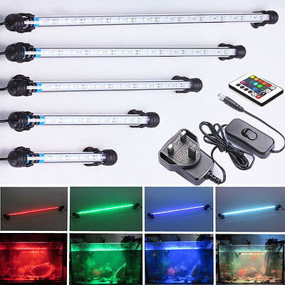 Aquarium Fish Tank LED Lights Waterproof White Blue RGB (16 Colours) Submersible