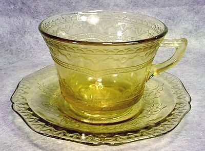 Federal AMBER Golden Glo PATRICIAN Spoke CUP & SAUCER Depression Glass YELLOW
