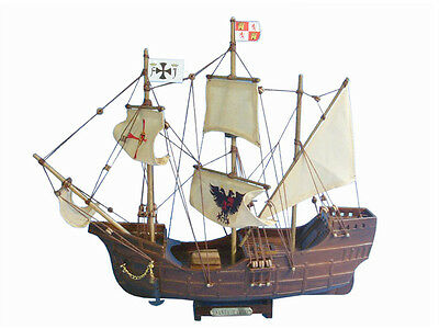 "Santa Maria with Embroidery 14"" - Wooden Model Tall Ship - Christopher Columbus"