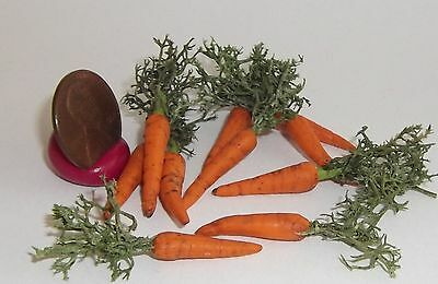 Miniature Dollhouse Realistic TWO Dirty Carrots w/ Tops Vegetables Garden #7392