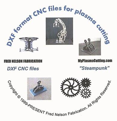 Steampunk selection of dxf format CNC files for plasma or laser cutting on CD