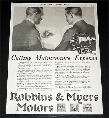 1918 Old Magazine Print Ad, Robbins & Myers Fans, Cutting Maintenance Expense!