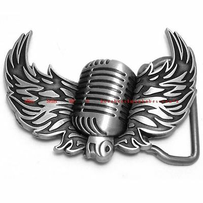 Hbu1827 Angel Wings Microphone Karaoke Rock N Roll Music Singer Belt Buckle