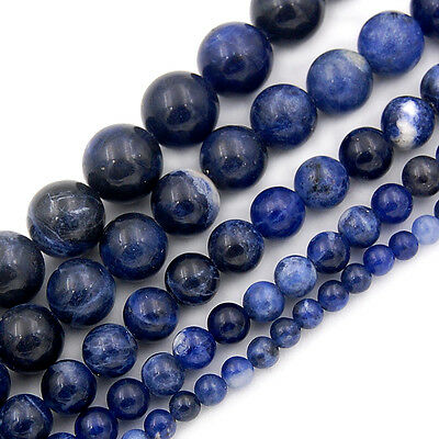 4mm 6mm 8mm 10mm 12mm Natural Sodalite Gemstone Round Spacer Loose Beads 15.5""