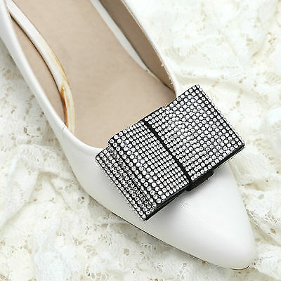 Sexy Clear Rhinestone Crystal White Bow Sparkle Party Shoe Clips Pair