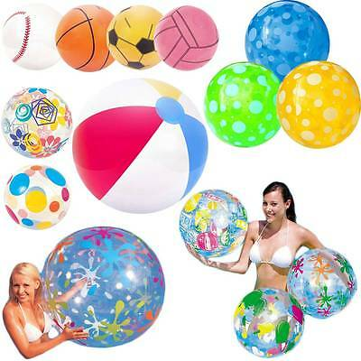 "Inflatable Beach Ball Swimming Pool Party Holiday 16"" 20"" 24"" 48"" Various Design"