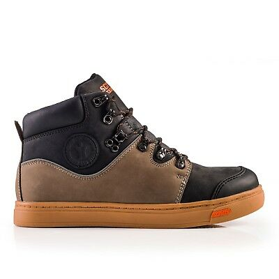 SCRUFFS DUAL Mens Safety Work Boots Skate Style Leather Steel Toe Cap