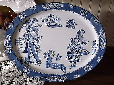 Antique Woods Ware Wood & Sons Tsing Geisha Blue & White Platter 16 3/8""