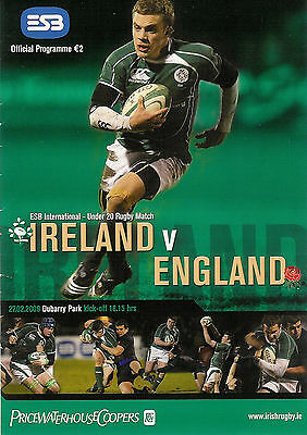 Ireland v England Under 20 27 Feb 2008 Dubarry Park RUGBY PROGRAMME