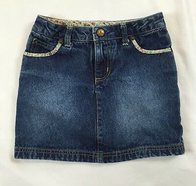 Lands End Kids Size 6 Years Blue Jean Denim Skirt With Floral Trim