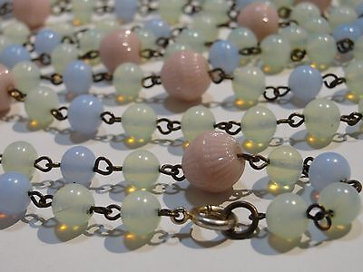 Antique Victorian Rare X Large  Glass Bead Blue Pink Lamp Work Necklace