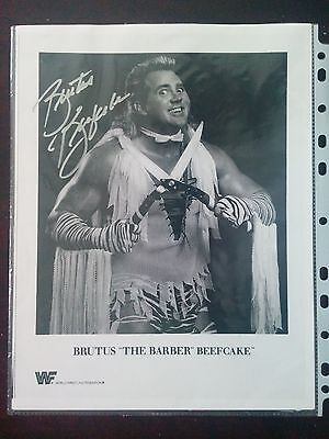 Leaf Wrestling WWE WWF Hall of Fame Brutus The Barber Beefcake Autographed Photo