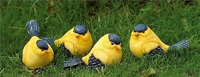 Set of 4 GOLDFINCH Figurines--Each has a Slightly Different Pose--Resin