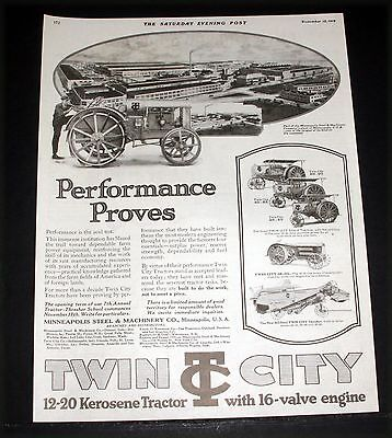 1919 Old Magazine Print Ad, Twin City 12-20 Kerosene Tractor, 16-Valve Engine!