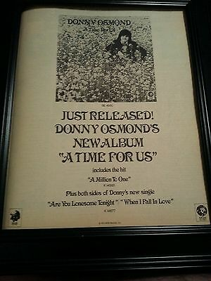 Donny Osmond A Time For Us Rare Original Promo Poster Ad Framed!