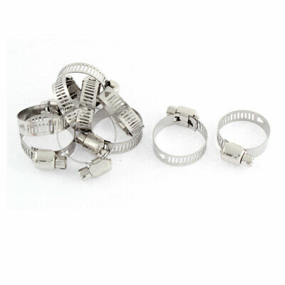 Adjustable 16mm-25mm Range Band Stainless Steel Worm Hose Clip Clamp 10 Pcs