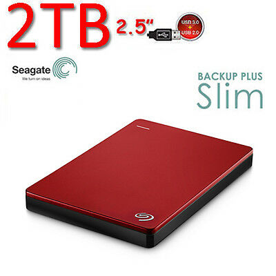 """2To 2.5"""" Neuf SEAGATE Backup Plus SLIM USB3.0 Disque dur Externe Portable Rd"""
