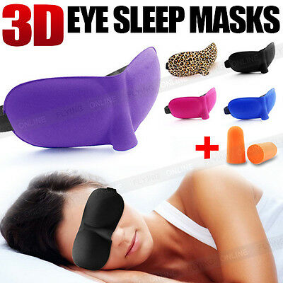 3D Sleeping Eye Mask Blindfold Earplugs Shade Test Relax Sleep Cover Light