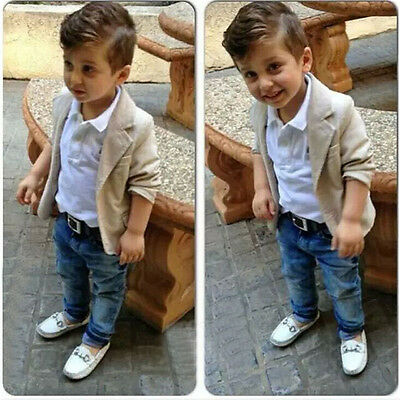 New Baby Boy Smart Coat + Shirt +Denim Trousers Kids Clothes Outfits Suit 3PCS