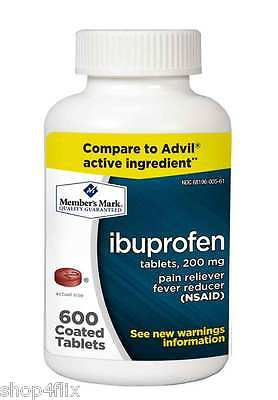 Member's Mark 200 mg Ibuprofen Pain Reliever Fever Reducer (600 Coated Tablets)