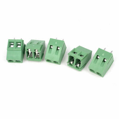 300V 10A 2 Way Pin 5mm Pitch Mounted PCB Screw Terminal Block Green 5Pcs