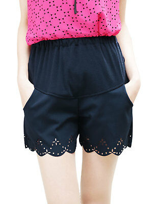 Motherhood Stretchy Waist Solid Color Short Trousers Dark Blue S