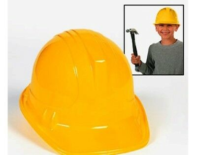 12 Yellow Plastic Construction or Builders Party Hats | Kids Birthday Party Hats