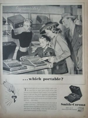 1946 Vintage Smith Corona Typewriter Family Choosing Portable Original Print Ad