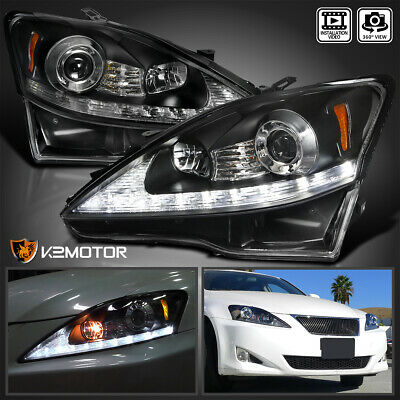 For 2006-2009 Lexus IS250 IS350 Black LED+Signal Strip Projector Headlights Pair
