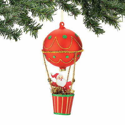 Dept 56 Christmas Santa Claus In Balloon Glass Ornament New 2015 4045901