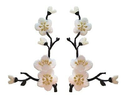3958PK Lot 2Pcs Pink Quince Sakura Flower Embroidery Iron On Applique Patch-L/&R