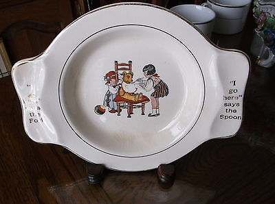 Antique childs plate Little Girls Feeding Teddy made for International Silver Co