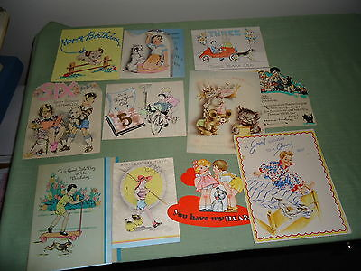 11 Vintage Children's And Dog Birthday Cards Lot From 1930's