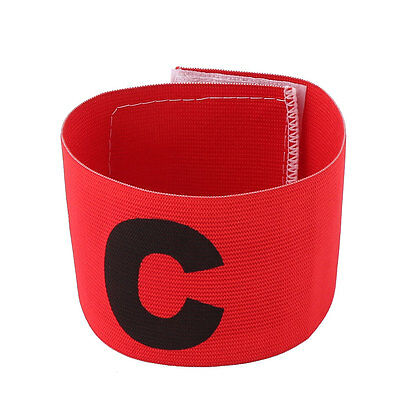 Adjustable Elastic Tension Arm Band Captain Armband for Football Soccer Game Red