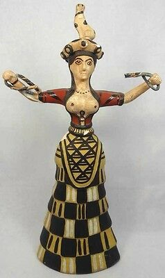 A Greek style composition of the famed faience Minoan snake goddess