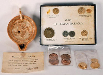 A set of coins and an oil lamp from 1971 commemorating York's 1900 years
