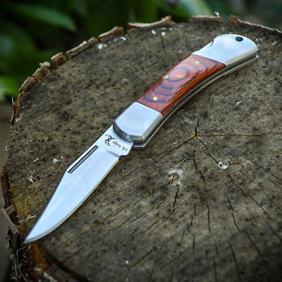 ELK RIDGE Wood Lockback FOLDING POCKET KNIFE Hunting Camping EDC