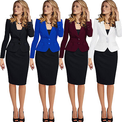 Womens Elegant Lapel Wear to Work Office Career Business Blazer Jacket 1359