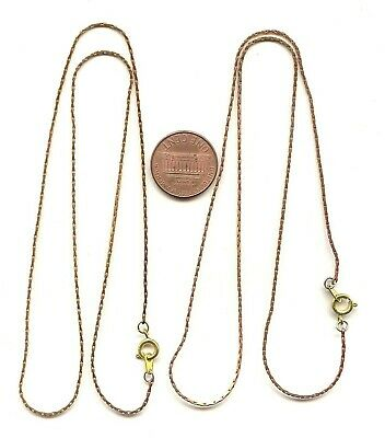 "36 VINTAGE SOLID BRASS .75mm. PEANUT FINE CHAIN 18"" NECKLACES  X201"