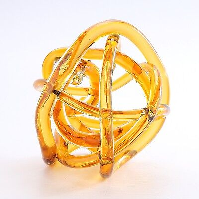 "New 8"" Hand Blown Art Glass Knot Sculpture Figurine Abstract Amber"